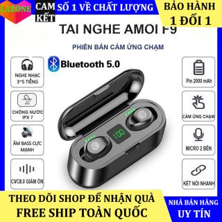 Tai nghe bluetooth không dây AMOI f9 phiên bản cảm ứng có đế sạc dự phòng, mic đàm thoại - Tai nghe không dây nhét tai Amoi f9 pro - Tai nghe bluetooth mini [Cam kết bảo hành 1 đổi 1] thumbnail