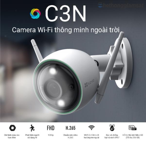 Camera EZVIZ C3N 1080P 2MPx (Có Màu Ban Đêm), Camera Wifi Ngoài Trời EZVIZ, Chính Hãng, Bảo Hành 24 Tháng