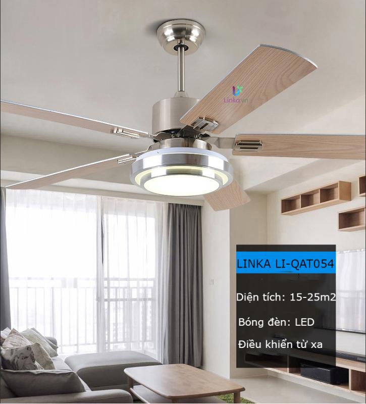 Quạt trần trang trí phòng ngủ, phòng khách đèn LED 05 cánh gỗ cao cấp QAT054