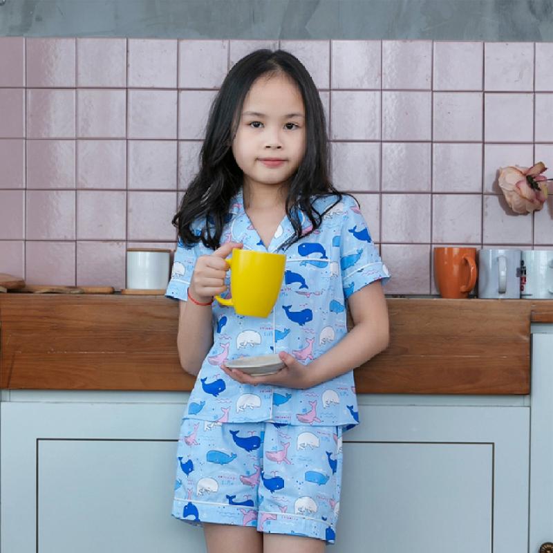 Nơi bán Đồ bộ mặc nhà pijama bé gái màu xanh nước biển họa tiết con cá voi