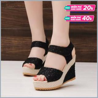 Giày Sandal nữ đế xuồng 10cm kim tuyến ren lưới (màu đen) + TẶNG NGAY PHẦN QUÀ 30K thumbnail