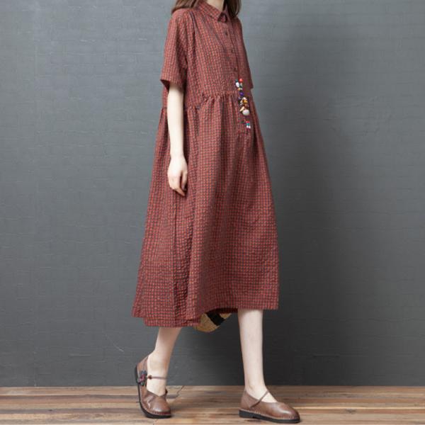 2020 Mẫu Mới Trang Phục Mùa Hè Phiên Bản Hàn Quốc Thông Dụng Dáng Suông Rộng Cotton Váy Sơ Mi Big Size Sọc Caro Ghép Mảnh Dáng Dài Ngắn Tay Áo Đầm