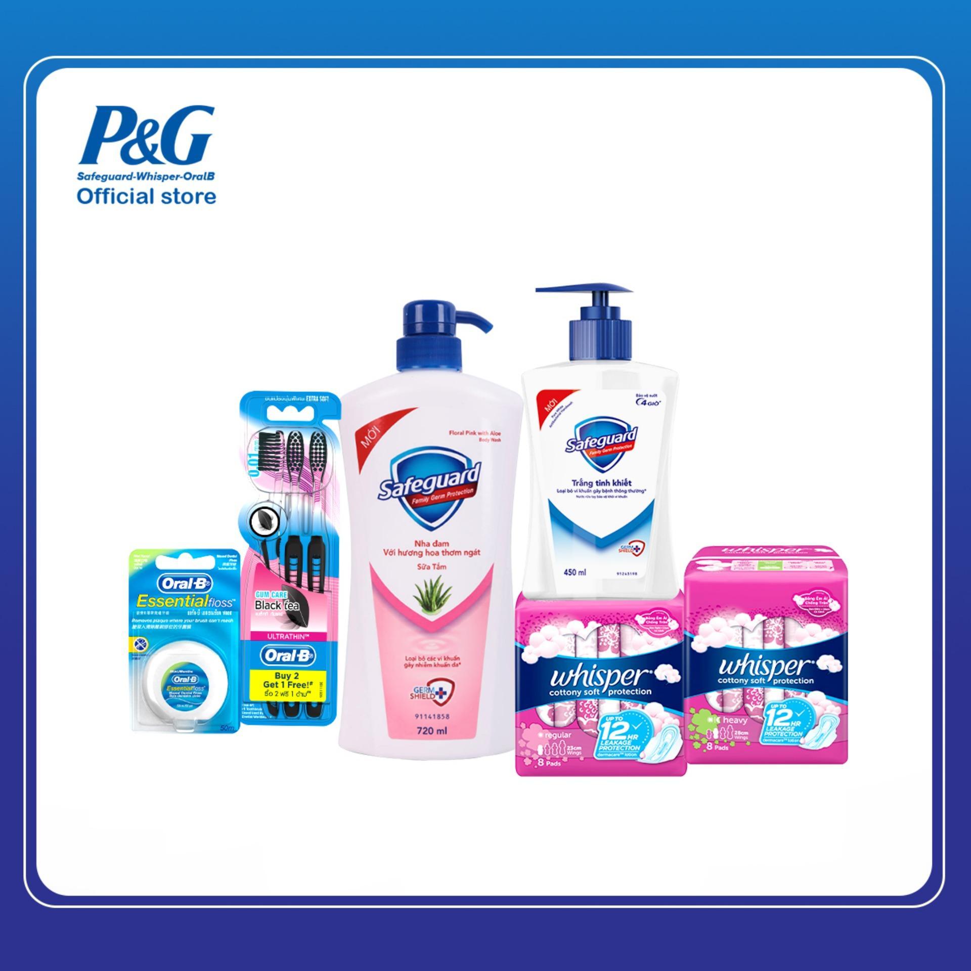 Bộ sản phẩm Chăm sóc toàn diện cho gia đình: Safeguard - Whisper - OralB