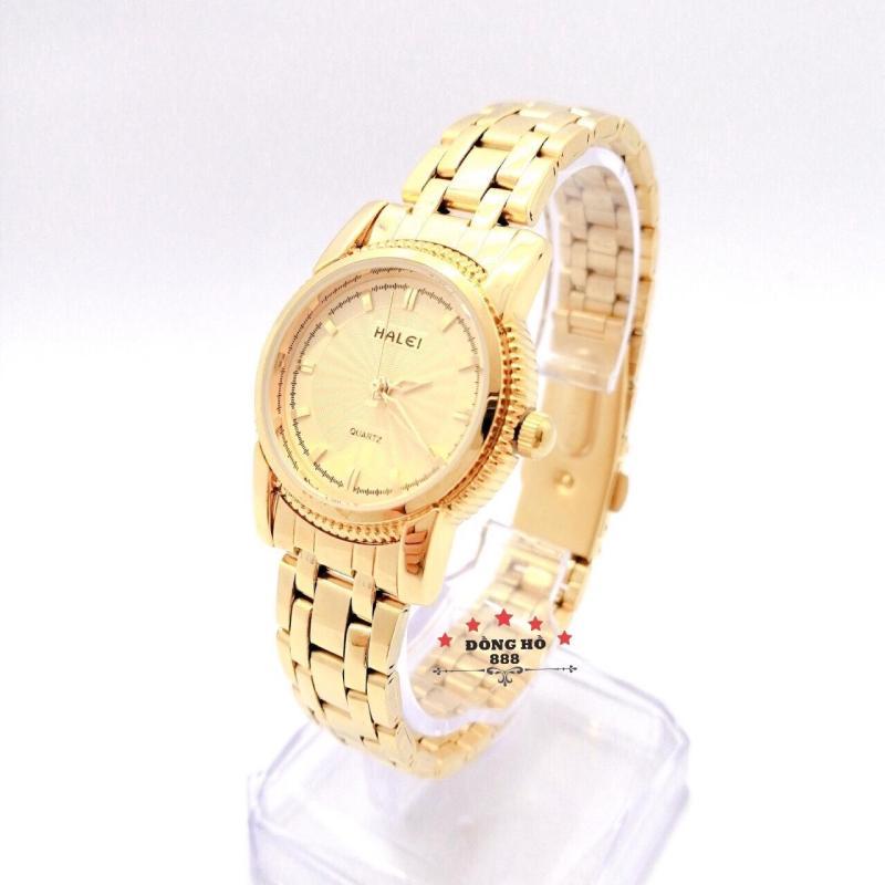 Đồng hồ nữ HALEI dây kim loại thời thượng ( HL501 dây vàng mặt vàng ) - TẶNG 1 vòng tỳ hưu phong thuỷ