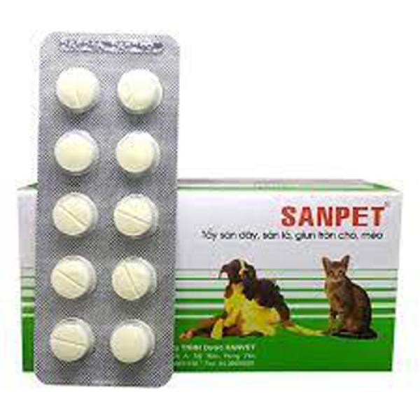 [Giá Rẻ] Xổ giun sán chó mèo dạng viên 10 viên Sanpet