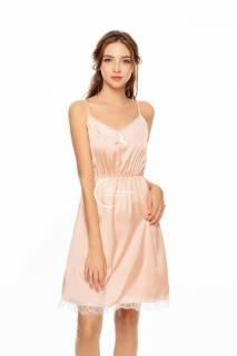 Dreamy - VX20 - Váy ngủ lụa cao cấp, váy ngủ nữ, váy ngủ lụa dáng xòe phối ren ngực bo chun eo có 3 màu xám hồng pastel và đỏ đô thumbnail