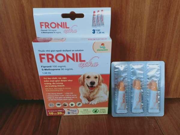 Nhỏ vai gáy diệt ve, bọ chét trên chó, FRONIL EXTRA, tuýp 1.34 ml, vỉ 3 tuýp