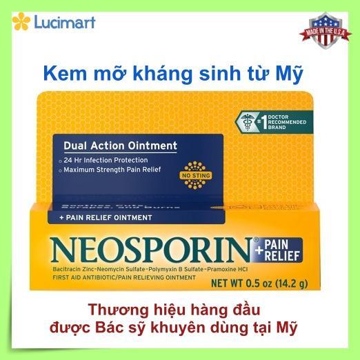 Thuốc mỡ kháng sinh từ USA: NEOSPORIN® First Aid Maximum Strength Ointment 1 tuýp x 14.2g (hạn dùng 11/2020)