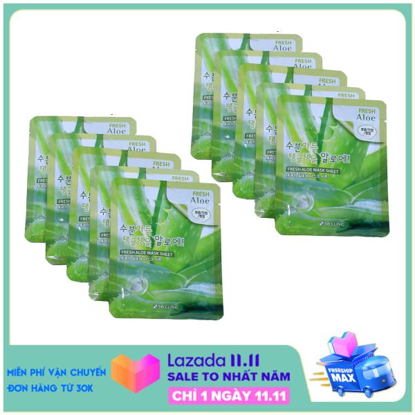 Bộ 10 Miếng Mặt Nạ Nha Đam 3W Clinic Fresh Aloe Mask Sheet 23ml X 10