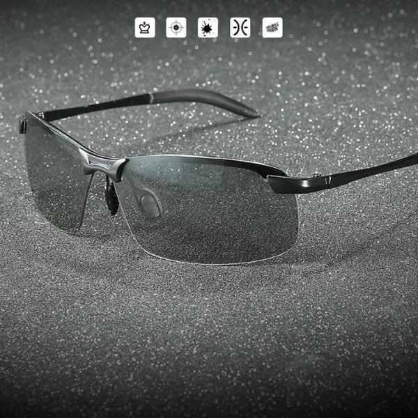 Giá bán Kính đổi màu nam gọng kim loại nhẹ, kính polarized phân cực chống chói, chống tia UV 400 - MK1911