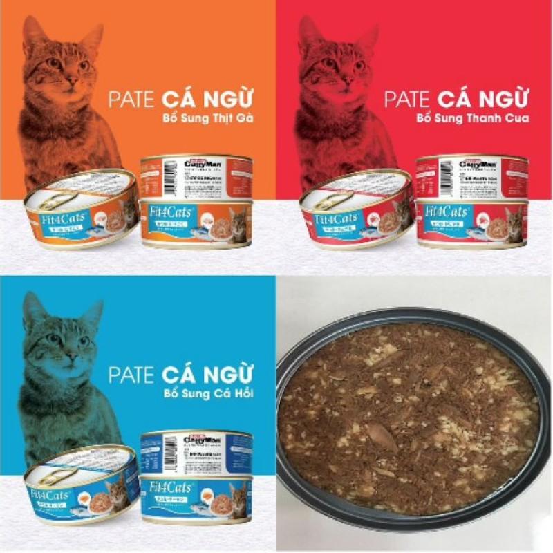 PATE FIT 4 CATS - PATE CHO MÈO 160g Cá ngừ - thịt gà