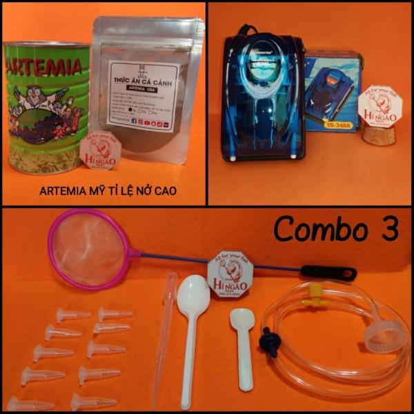 Combo 3: 20g Trứng Artemia Mỹ + Bộ Ấp + Máy Oxi 2 vòi - Thức ăn cá betta bột, cá bột   Hingaostore.