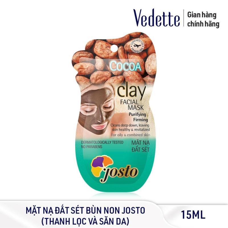 Mặt nạ đất sét sạch sâu dịu nhẹ bùn non Josto Clay Facial Mask - Cocoa 15ml (dạng gói) giá rẻ
