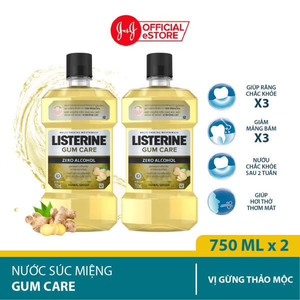 Bộ 2 Chai Nước súc miệng giúp nướu chắc khỏe Listerine Gum Care 750ml/chai