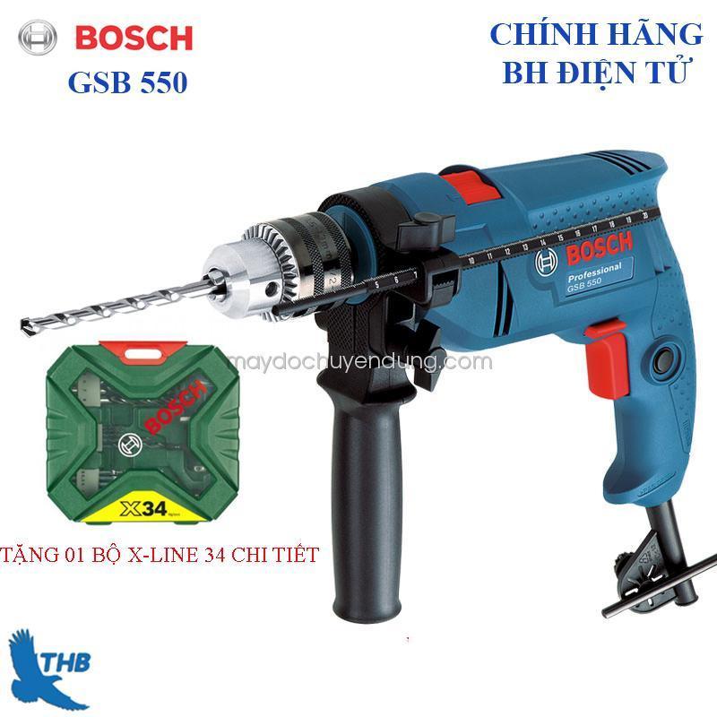Máy khoan động lực Bosch GSB 550 tặng bộ X-Line 34 chi tiết