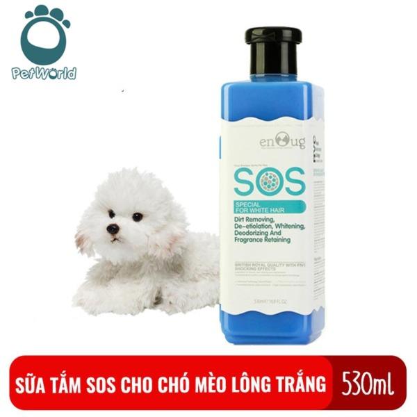Sữa tắm dành riêng cho chó mèo lông trắng SOS 530ml chai màu xanh giúp thơm lâu, không bị ngả vàng