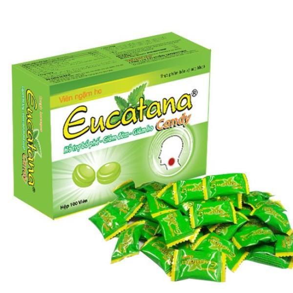 Kẹo ngậm ho Eucatana Hộp 100 viên - Giúp bổ phổi - giảm ho trong các trường hợp: ho gió -  ho khan - ho có đờm - ho rát họng - ho do thời tiết thay đổi - Làm giảm khản tiếng - giữ thơm miệng