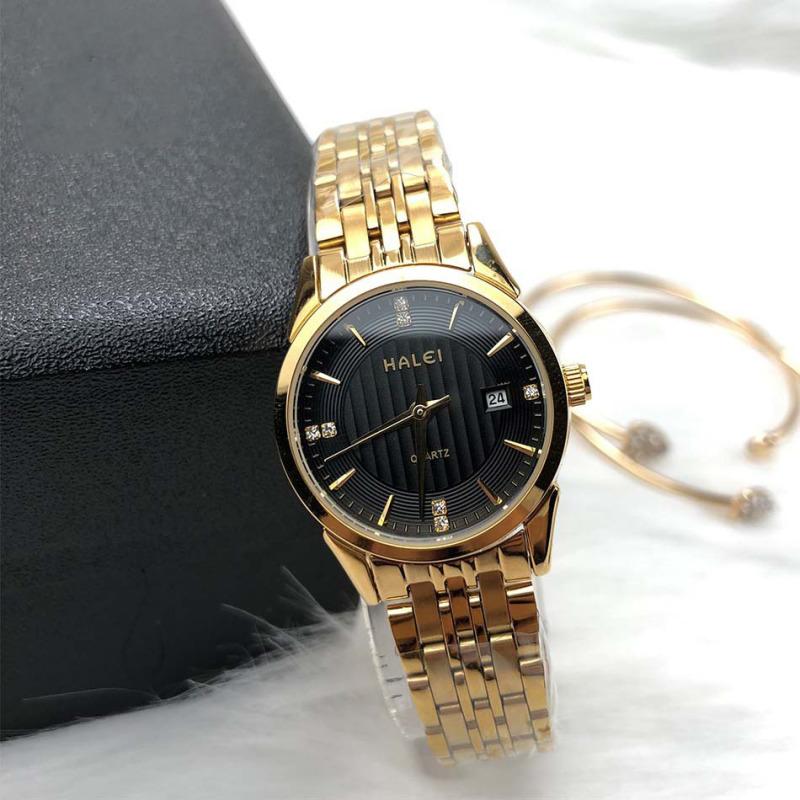 Đồng hồ cặp thời trang nam nữ Halei 562 Hl1 mặt tròn dây kim loại kèm lịch ngày cao cấp dfytvb