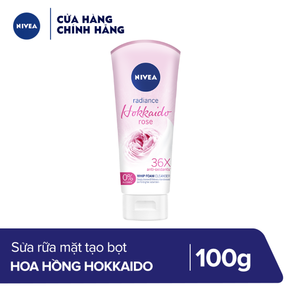 Sữa rửa mặt tạo bọt chiết xuất hoa hồng Nivea radiance Hokkaido rose 100g - 84984