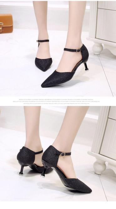 giày cao gót nữ 5 phân gót đinh nhũ kim tuyến vòng hạt cổ chân giá rẻ