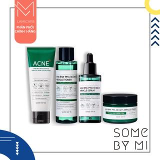Bộ 4 sản phẩm dưỡng toàn diện cho da thâm mụn Some by mi AHA BHA PHA 30 days miracle cleanser, toner, serum, cream full size thumbnail