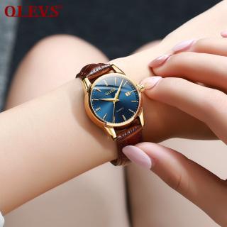 Đồng hồ nữ OLEVS chính hãng sang trọng dây da mạ vàng có lịch đôi chống thấm nước thumbnail