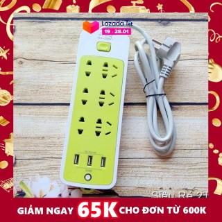 (NẠP ĐIỆN NHANH - CHỐNG CHÁY NỔ) - Ổ CẮM ĐIỆN 6 LỖ SẠC NHANH KÈM 3 LỖ SẠC USB- NẠP ĐIỆN CẤP TỐC CHO MỌI THIẾT BỊ, CHỐNG GIẬT, TIẾT KIỆM ĐIỆN - Ổ CẤM ĐIỆN XANH LÁ ĐA NĂNG thumbnail