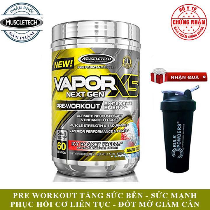 [TẶNG BÌNH SHAKER] Pre-Workout Vapor X5 của MuscleTech hương kem tuyết hộp 60 lần dùng hỗ trợ tăng Sức Bền, Sức Mạnh vượt trội, tăng tập trung tỉnh táo, đốt mỡ, giảm cân, giảm mỡ bụng mạnh mẽ cho người tập Gym và chơi thể thao - thuc p