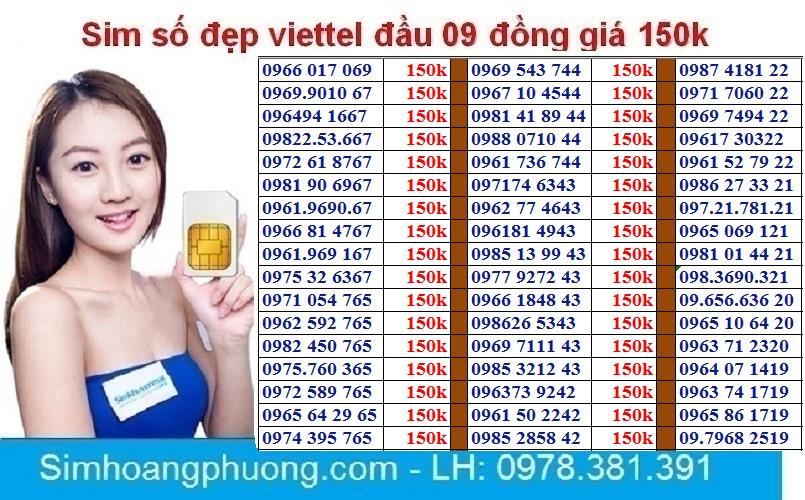 Sim Viettel Số đẹp đồng Giá 150k Giá Giảm