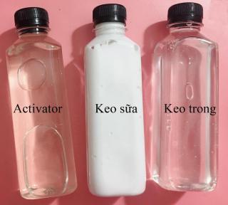 Keo trong + Keo sữa + Dung dịch làm đông slime activator - Nguyên liệu làm slime thumbnail