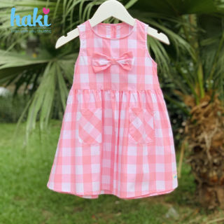 Váy bé gái thô kẻ cổ tròn sát nách đính nơ Haki HK511, váy thiết kế cho bé gái HAKI, đầm hè cho bé gái từ 0-8 tuổi (khoảng 10-27kg), hàng xuất khẩu Canada