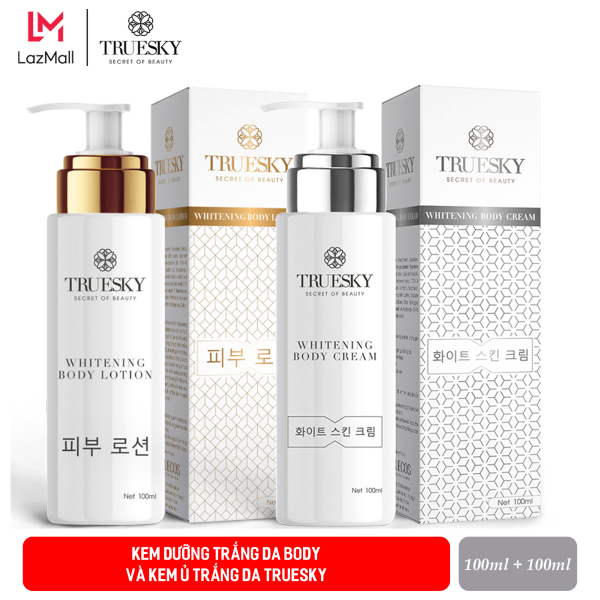 Bộ tắm trắng body cấp tốc Truesky gồm (1 kem ủ trắng body 100ml + 1 kem body dưỡng trắng 100ml)