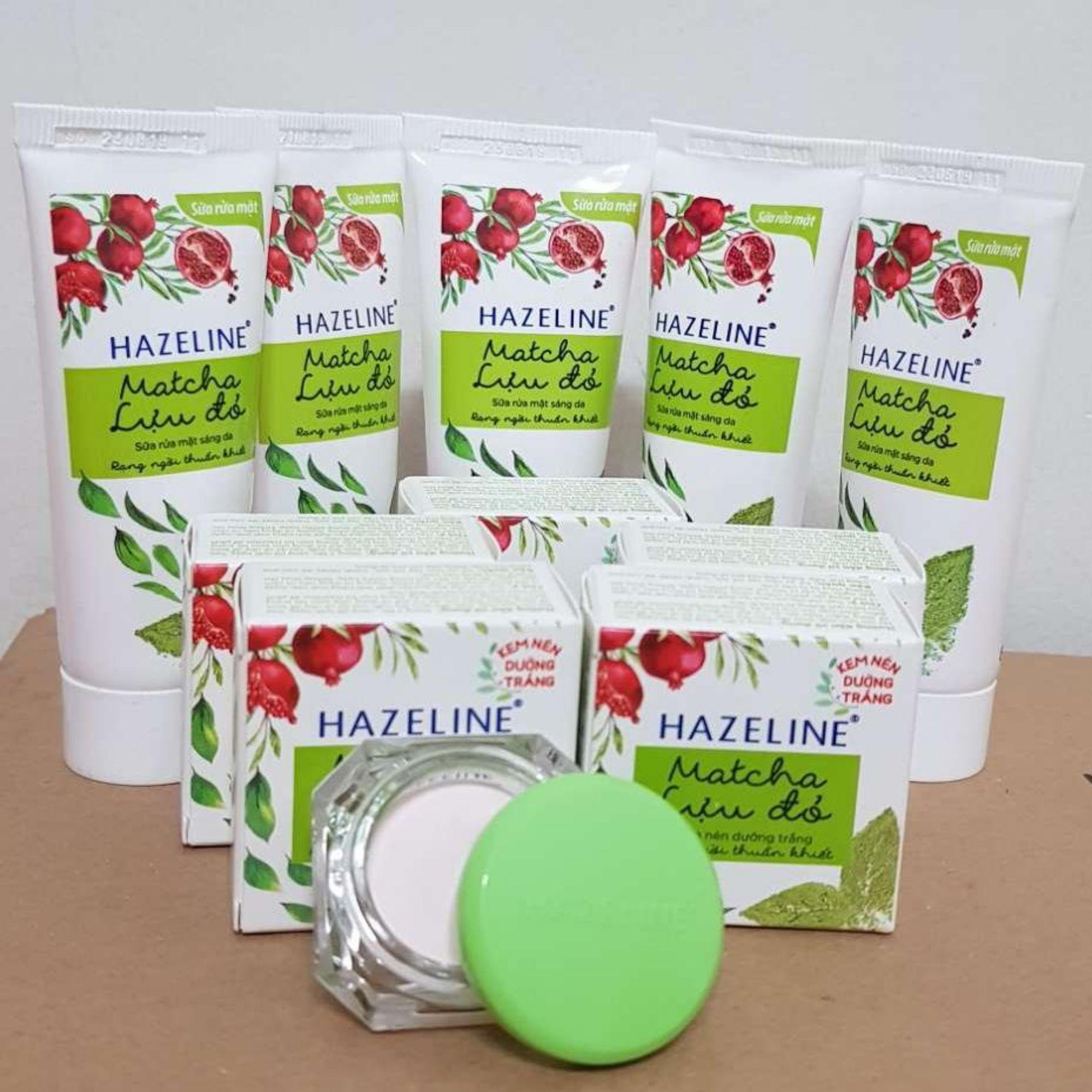 (NHH) Trọn bộ 10 món:  5 hộp kem nén dưỡng trắng Hazeline matcha (3g/hộp), 5 tuýp sữa rửa mặt sáng da Hazeline matcha (15g/ tuýp) + Tặng túi đựng mỹ phẩm xinh xắn cao cấp