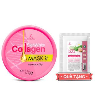Mặt Nạ Dưỡng Trắng Collagen 145ml Da Nhờn - Tem Hồng TẶNG Kem Làm Rụng Lông Trắng Da 20ml LANGCE