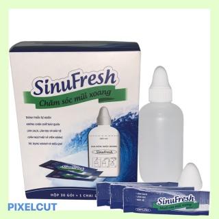 Muối rửa mũi xoang cát Linh Sinufresh hộp 30 gói muối kèm 1 chai rửa 180ml, dùng cho cả người lớn và trẻ nhỏ thumbnail