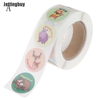 Cuộn 500 nhãn dán Jettingbuy hình động vật hoạt hình dễ thương dán nhật ký, album hoặc phần thưởng - INTL thumbnail