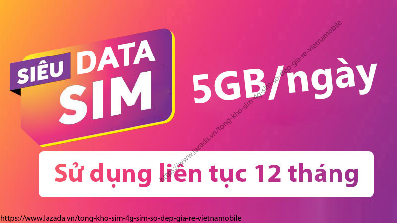 [HCM]Siêu Sim Data 4G Vietnamobile 1800G/Năm - Siêu Tốc Độ Với Giá Siêu Rẻ Chỉ 1000đ/Ngày