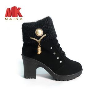 Giày boot nữ đế vuông S105 (Đen) MK STORE