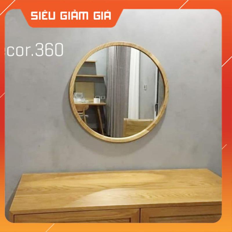 (Size 50cm) Gương Tròn Treo Tường Viền Gỗ Sồi Tự Nhiên
