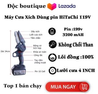 ( SIÊU KHUYẾN MÃI ) Máy cưa xích dùng pin Hitachi 199V Dung Lượng Khủng 32000 mAH - Bộ Máy Cưa Cầm Tay Không Chôi Than - Pin 10 Cell - Máy Cắt Cầm Tay Dùng Pin- Động Cơ Lõi Đồng- Nhỏ Gọn -Dễ Dàng Sử Dụng - Bảo Hành 12 Tháng thumbnail
