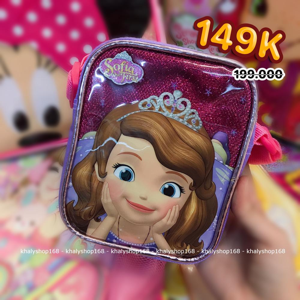 Giá bán Túi đeo chéo hình công chúa Sofia kim tuyến màu hồng tím cho bé gái (Thái Lan) - 220SFNG3006112 - (15x4x11cm)