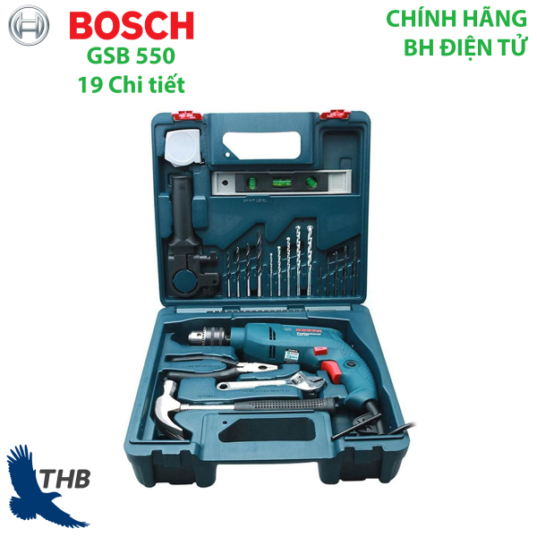 Máy khoan động lực Bosch GSB 550 SET 19 chi tiết