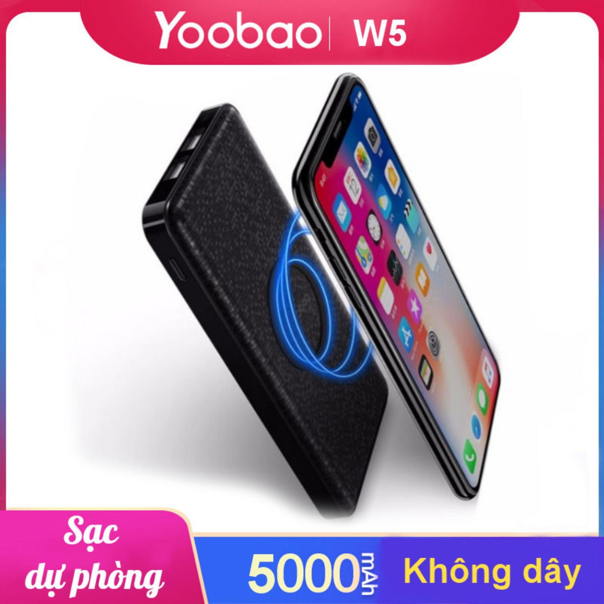 Sạc dự phòng không dây chính hãng YOOBAO W5 5000mAh cho iPhone X 8 Samsung S6 S7 S8 Qi phone...... - Hãng phân phối chính thức