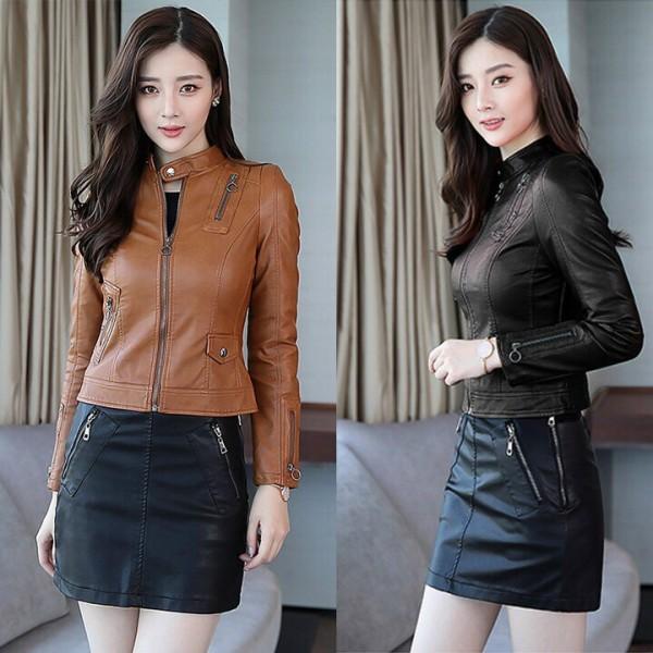 Áo khoác da nữ phiên bản Hàn Quốc mới, dáng ngắn, trơn tay dài có dây kéo