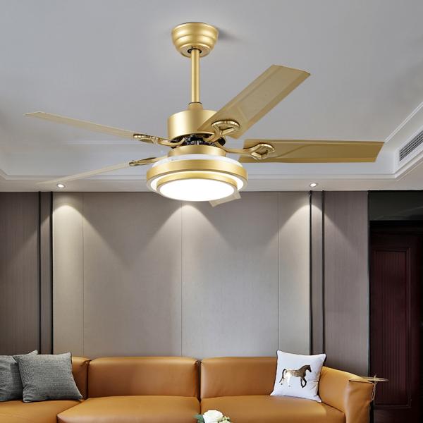 Đèn Quạt trần Đèn LED trang trí Hiện Đại màu vàng Sâm Banh - Quạt Đèn LED trang trí phòng Khách, Phòng ngủ SLY668 52ich