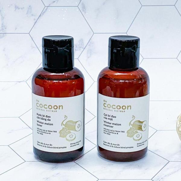 Bộ đôi giúp hết mụn, dưỡng ẩm da 1 Gel Rửa Mặt Bí Đao và 1 Nước Cân Bằng Da Bí Đao COCOON cao cấp