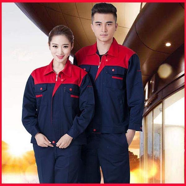 Quần áo bảo hộ lao động SHUNI004BBH kaki loại dày khóa kéo (than phối đỏ)