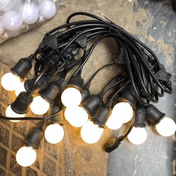 [Bh 1 Đổi 1] Đèn Bóng Tròn Pingpong Tặng Kèm Dây Nguồn - Đèn Trang Trí Ngoài Trời, Trong Nhà.