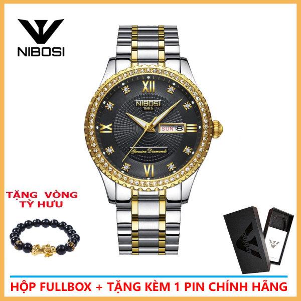 Nơi bán Đồng hồ nam Nibosi 2315 dây thép khảm đá cao cấp đồng hồ thời trang nam thanh lịch