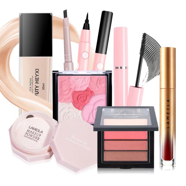Bộ mỹ phẩm trang điểm 8món,SET MAKEUP 8 MÓN MỚI VỀ,Kem nền dạng lỏng + phấn phủ + mascara + kẻ mắt + chì kẻ mày + bảng phấn mắt + bảng má hồng + son môi
